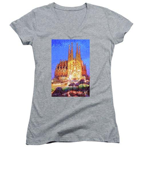 Sagrada Familia At Night Women's V-Neck T-Shirt (Junior Cut) by Jane Small