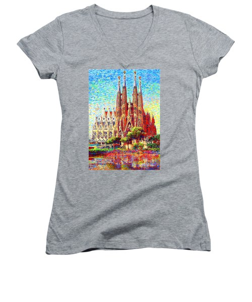 Sagrada Familia Women's V-Neck (Athletic Fit)