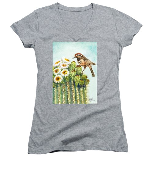 Women's V-Neck T-Shirt (Junior Cut) featuring the painting Saguaro And Cactus Wren by Marilyn Smith