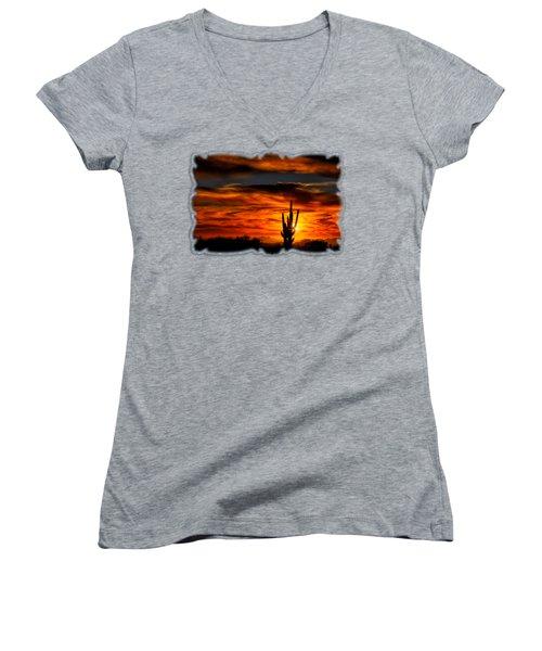 Saguaro Sunset H31 Women's V-Neck T-Shirt