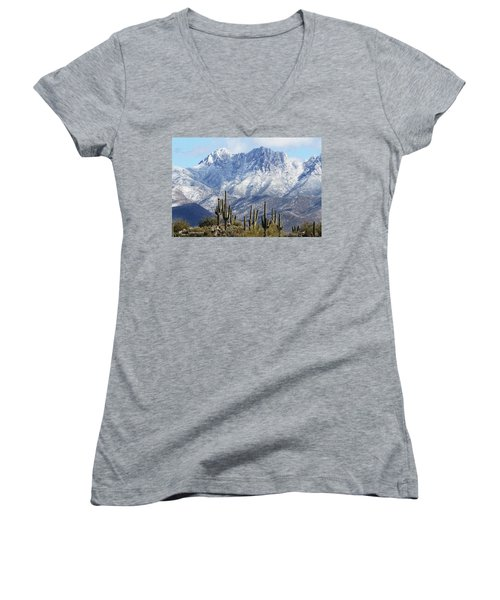 Saguaros At Four Peaks With Snow Women's V-Neck T-Shirt (Junior Cut) by Tom Janca