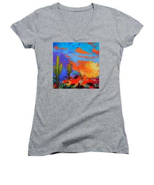Saguaros Land Sunset By Elise Palmigiani - Square Version Women's V-Neck (Athletic Fit)