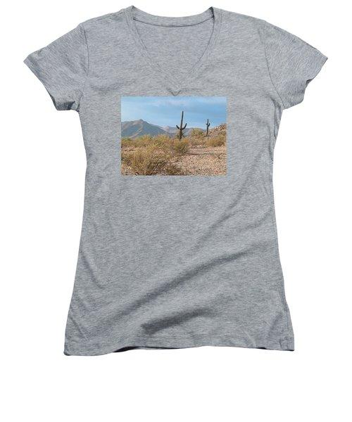 Saguaros On A Hillside Women's V-Neck T-Shirt