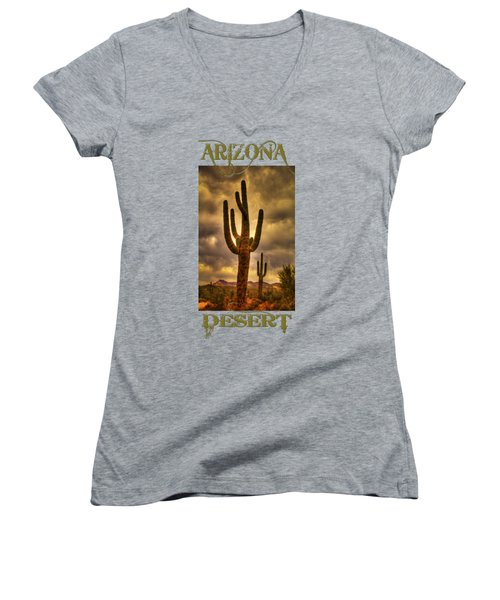 Saguaros On The Sonoran Late Afternoon Women's V-Neck