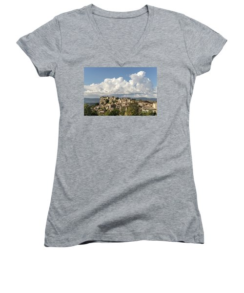 Women's V-Neck featuring the photograph Saignon Village Provence  by Juergen Held