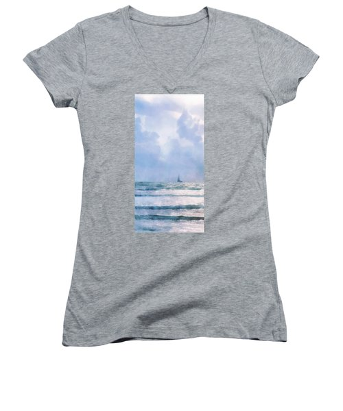 Women's V-Neck T-Shirt (Junior Cut) featuring the digital art Sail At Sea by Francesa Miller