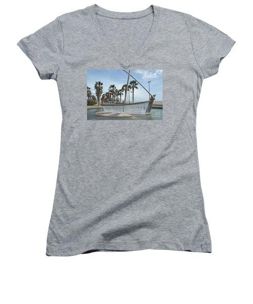 Sail Boat Fountain In Valencia Women's V-Neck T-Shirt