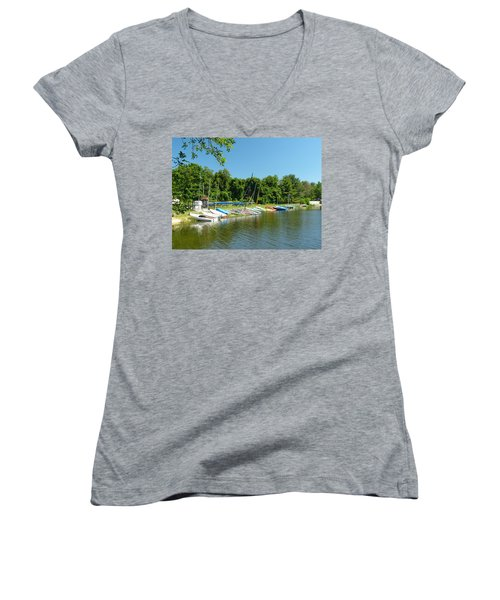 Women's V-Neck T-Shirt (Junior Cut) featuring the photograph Sail Boats At Rest by Donald C Morgan