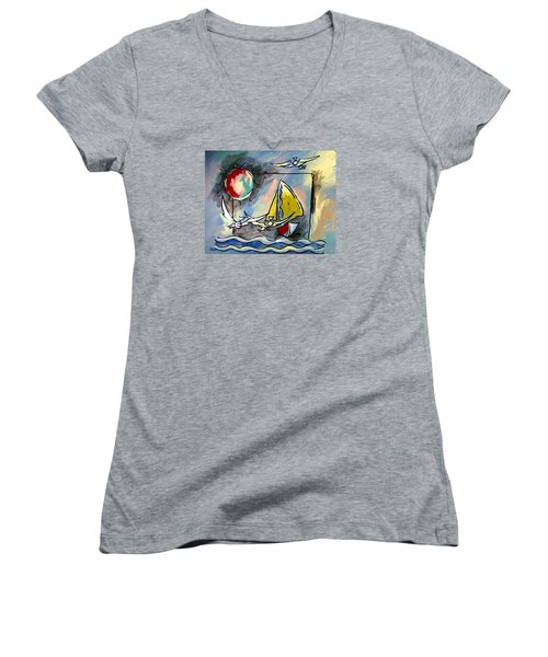 Sailboat 2 Women's V-Neck T-Shirt