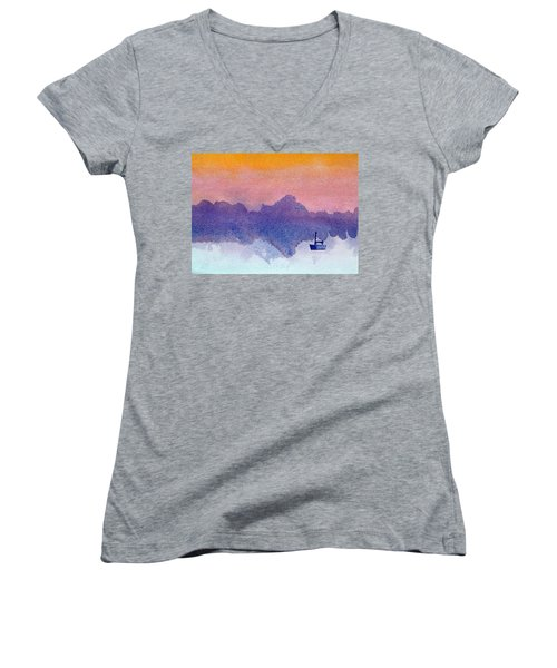 Sailboat At Dawn Women's V-Neck T-Shirt