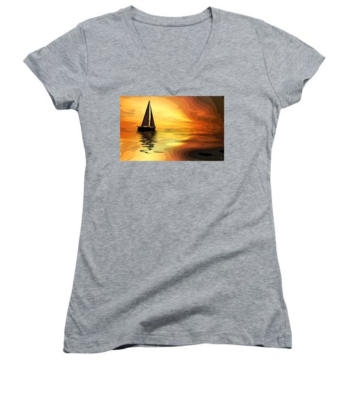 Sailboat At Sunset Women's V-Neck T-Shirt (Junior Cut) by Charles Shoup