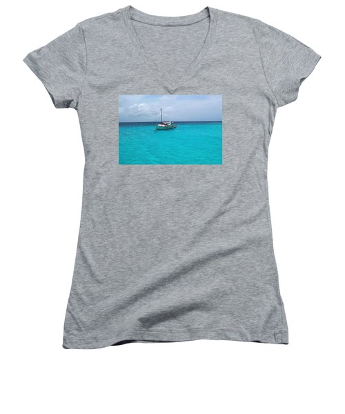 Sailboat Drifting In The Caribbean Azure Sea Women's V-Neck (Athletic Fit)