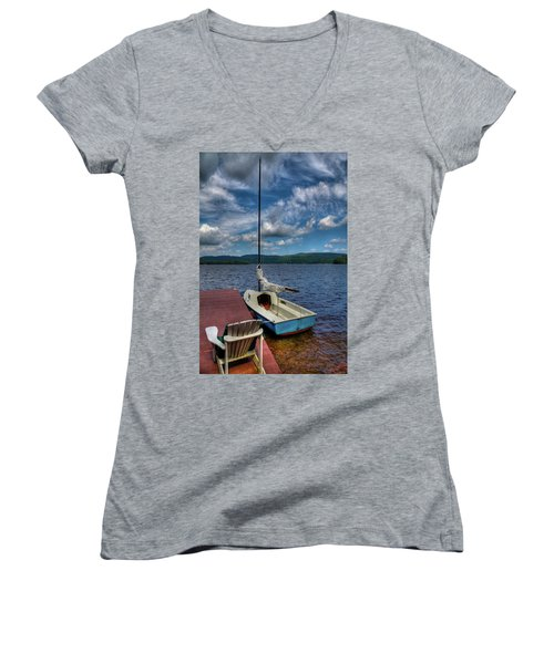 Sailboat On First Lake Women's V-Neck