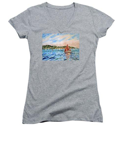 Sailboat On The Bay Women's V-Neck