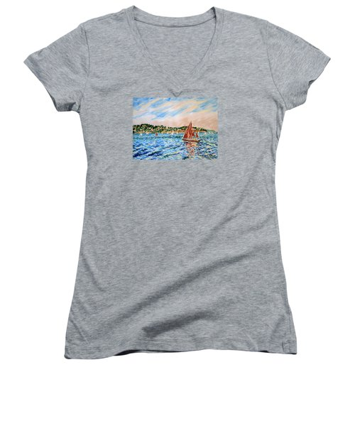 Sailboat On The Bay Women's V-Neck (Athletic Fit)