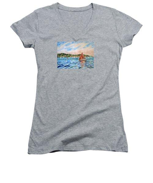 Sailboat On The Bay Women's V-Neck T-Shirt