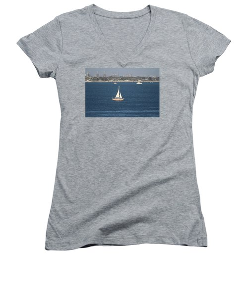 Sailboat On The Pacific In Long Beach Women's V-Neck (Athletic Fit)