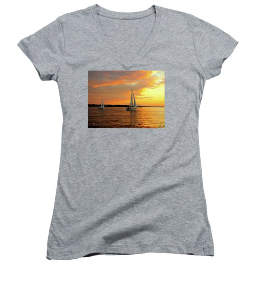 Sailboat Parade Women's V-Neck T-Shirt