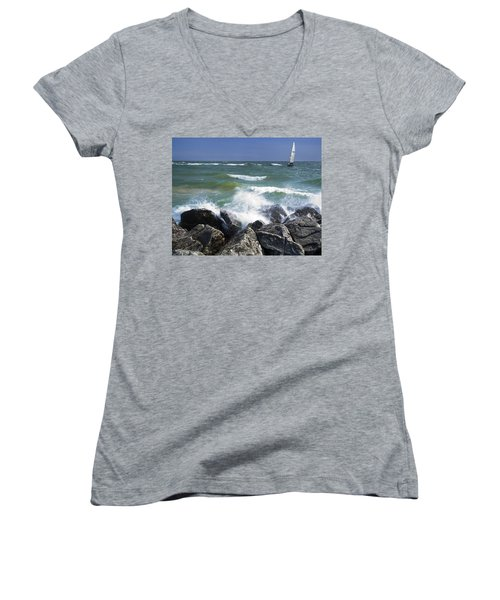 Sailboat Sailing Off The Shore At Ottawa Beach State Park Women's V-Neck (Athletic Fit)