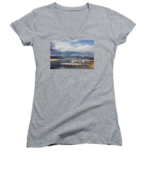 Sailboat Slips On Lake Granby In Grand County Women's V-Neck T-Shirt (Junior Cut) by Carol M Highsmith