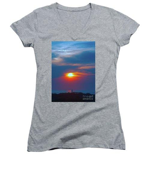 Sailboat Sunset Women's V-Neck T-Shirt (Junior Cut) by Todd Breitling