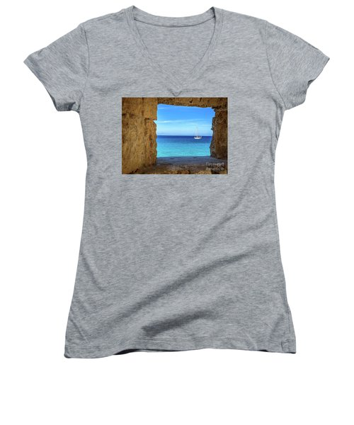 Sailboat Through The Old Stone Walls Of Rhodes, Greece Women's V-Neck