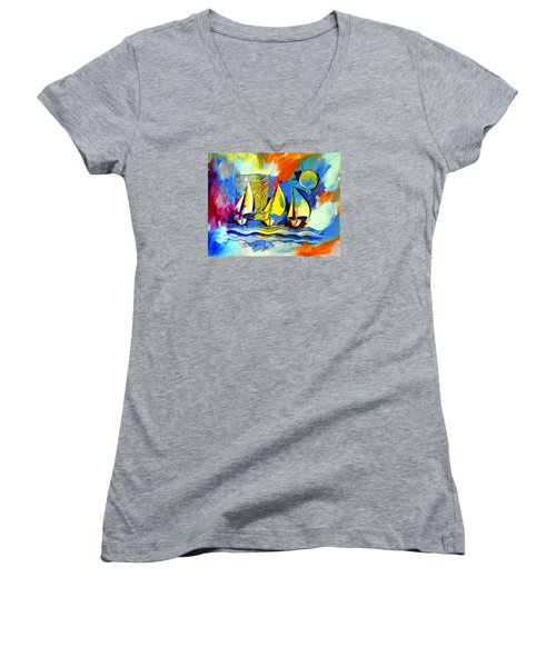 Sailboats Women's V-Neck T-Shirt