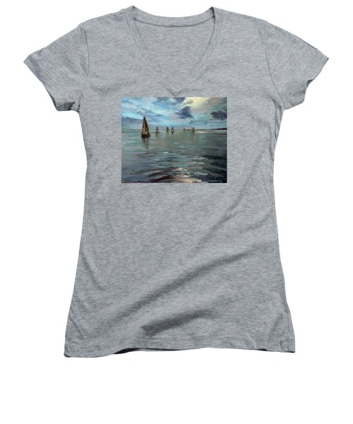 Sailboats On The Chesapeake Bay Women's V-Neck T-Shirt
