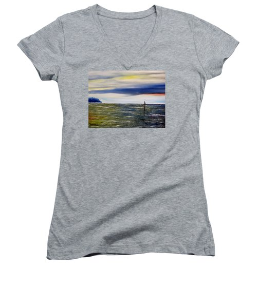 Women's V-Neck T-Shirt (Junior Cut) featuring the painting Sailing At Dusk by Marilyn  McNish