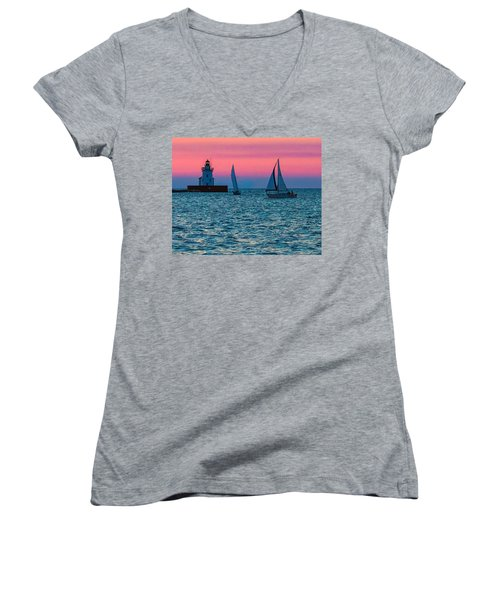 Sailing At The Cleveland Lighthouse  Women's V-Neck