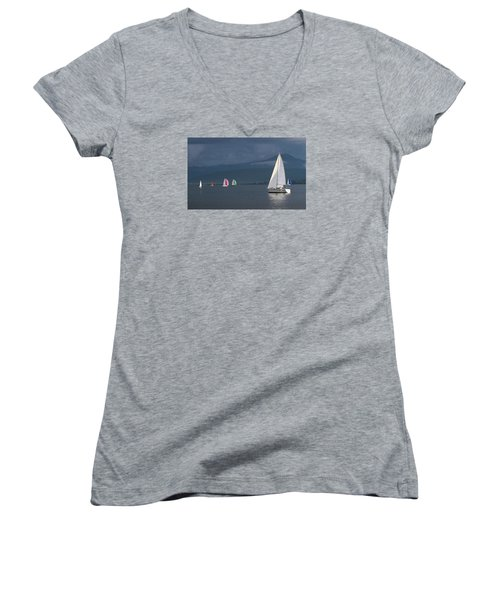 Sailing Boats By Stormy Weather, Geneva Lake, Switzerland Women's V-Neck T-Shirt