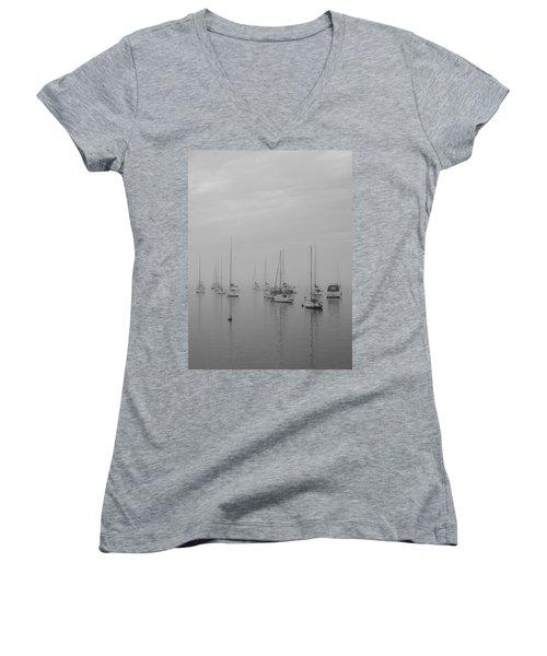 Sailing Bw Women's V-Neck T-Shirt (Junior Cut) by Silvia Bruno
