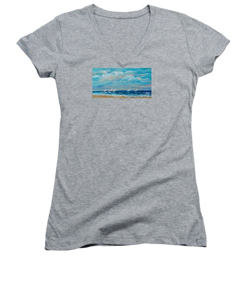 Sailing Close To The Shore Women's V-Neck T-Shirt