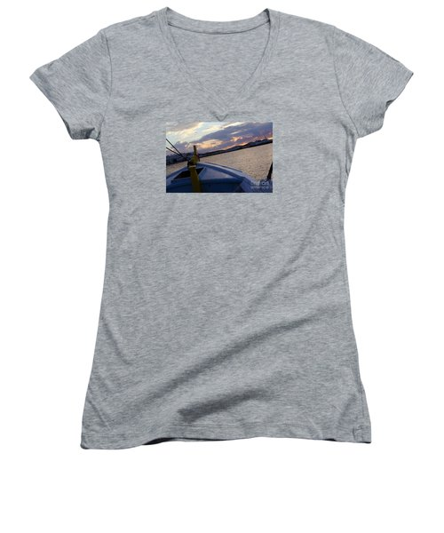Women's V-Neck T-Shirt (Junior Cut) featuring the photograph Sailing by Haleh Mahbod