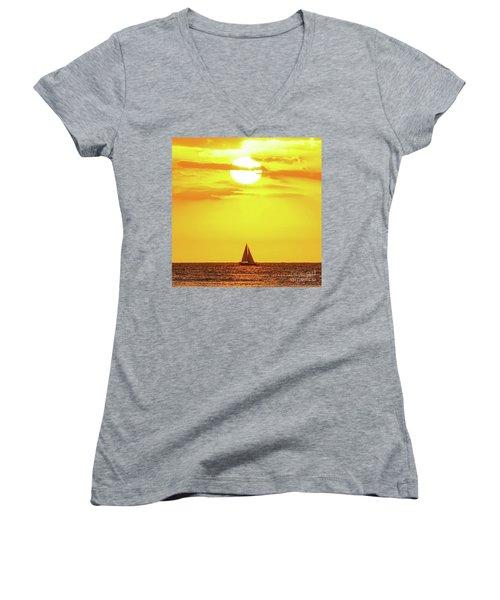 Sailing In Hawaiian Sunshine Women's V-Neck
