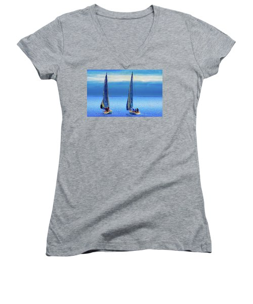 Sailing In The Blue Women's V-Neck T-Shirt (Junior Cut) by Joseph Hollingsworth