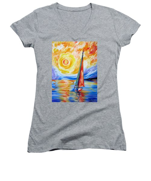 Sailing In The Hot Summer Sunset Women's V-Neck (Athletic Fit)