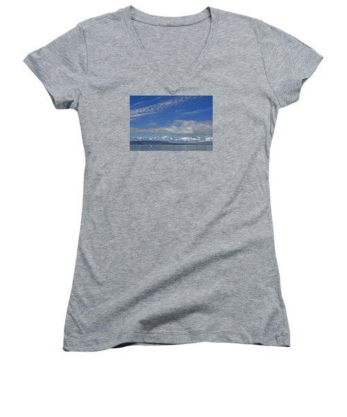 Sailing In The San Juan Islands Women's V-Neck T-Shirt