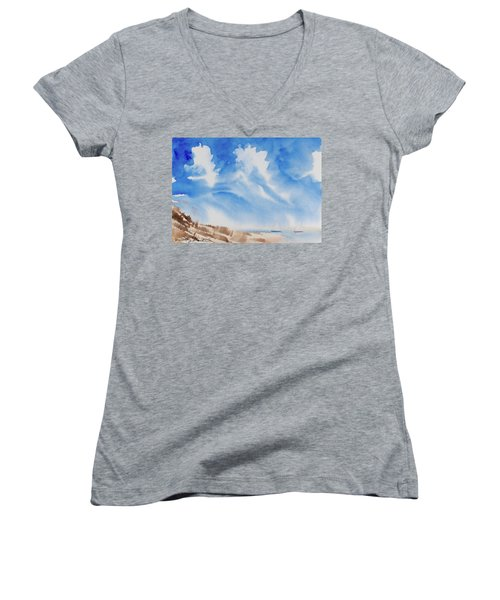 Women's V-Neck featuring the painting Fine Coastal Cruising by Dorothy Darden