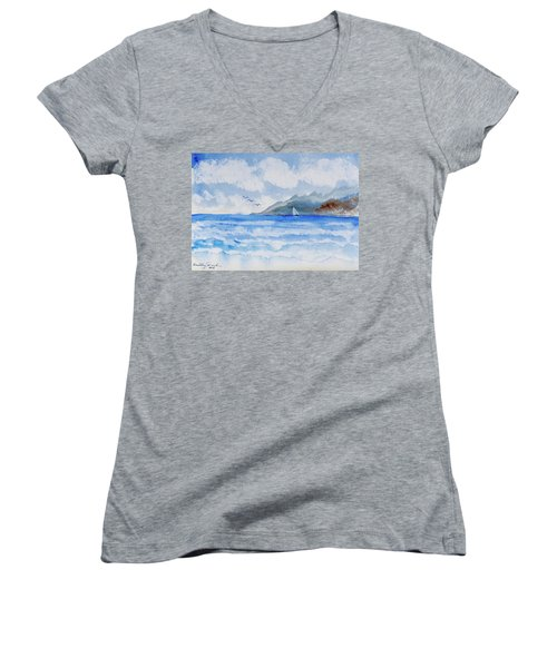 Women's V-Neck featuring the painting Sailing Into Moorea by Dorothy Darden