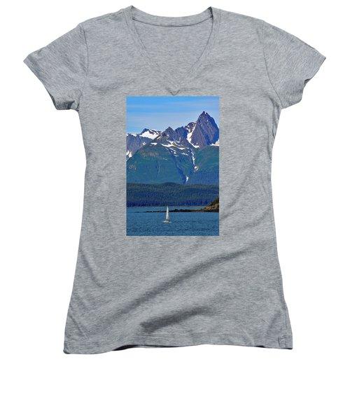 Women's V-Neck T-Shirt (Junior Cut) featuring the photograph Sailing Lynn Canal by Cathy Mahnke