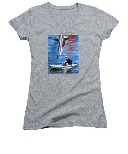 Sailing On Lake Thunderbird Women's V-Neck T-Shirt (Junior Cut) by Joshua Martin