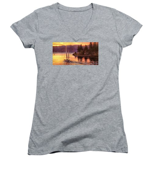 Sailing On The Sound Women's V-Neck (Athletic Fit)
