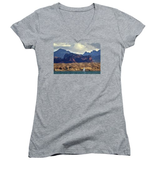 Sailing Past The Sleeping Dragon Women's V-Neck
