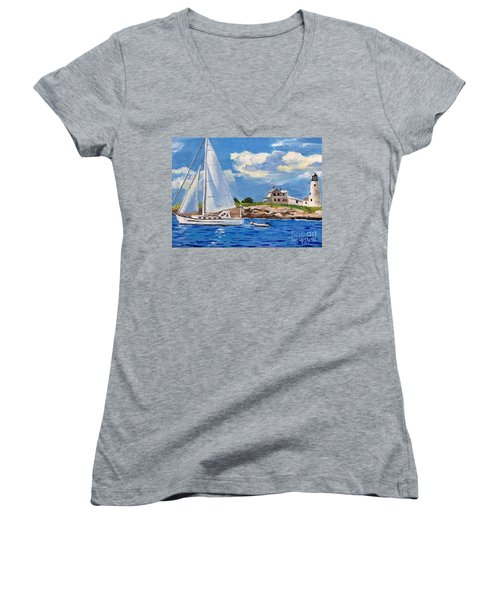 Sailing Past Wood Island Lighthouse Women's V-Neck