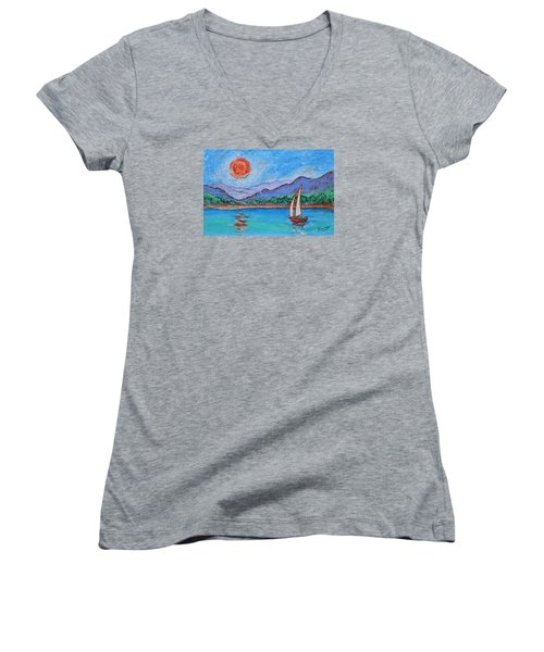 Women's V-Neck T-Shirt featuring the painting Sailing Red Sun by Xueling Zou