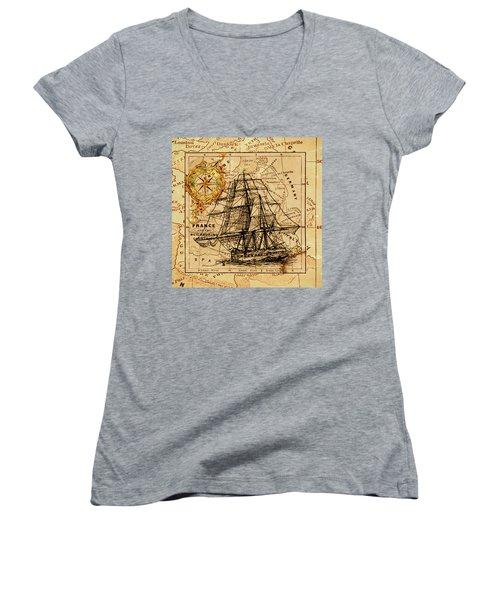 Sailing Ship Map Women's V-Neck