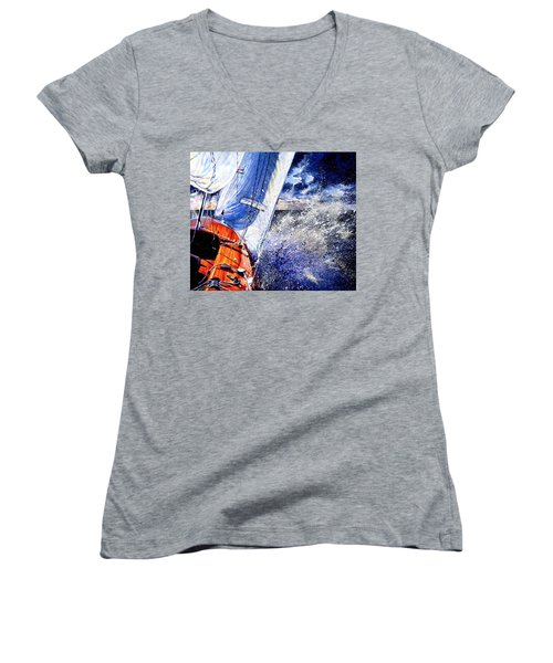Women's V-Neck T-Shirt featuring the painting Sailing Souls by Hanne Lore Koehler
