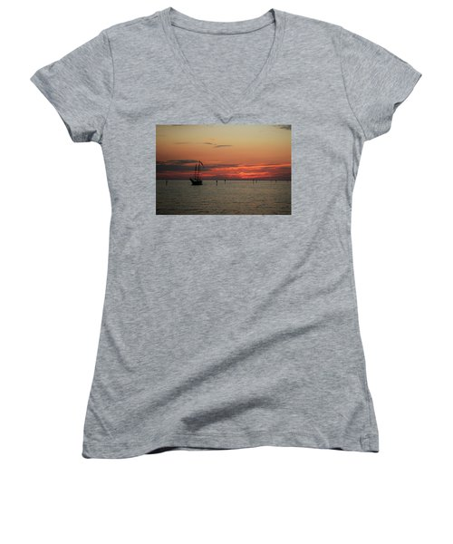 Sailing Sunset Women's V-Neck (Athletic Fit)