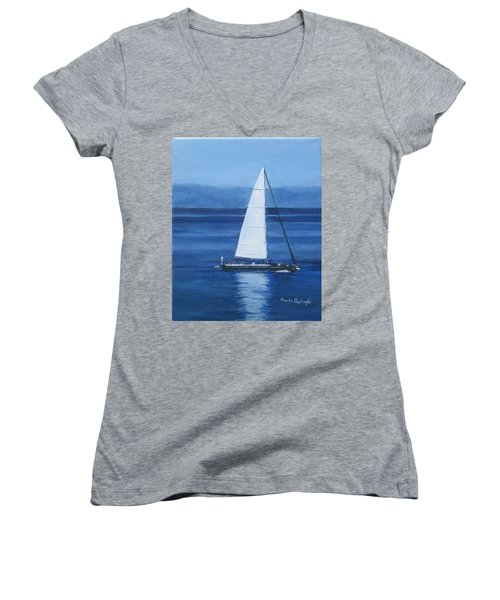 Sailing The Blues Women's V-Neck T-Shirt